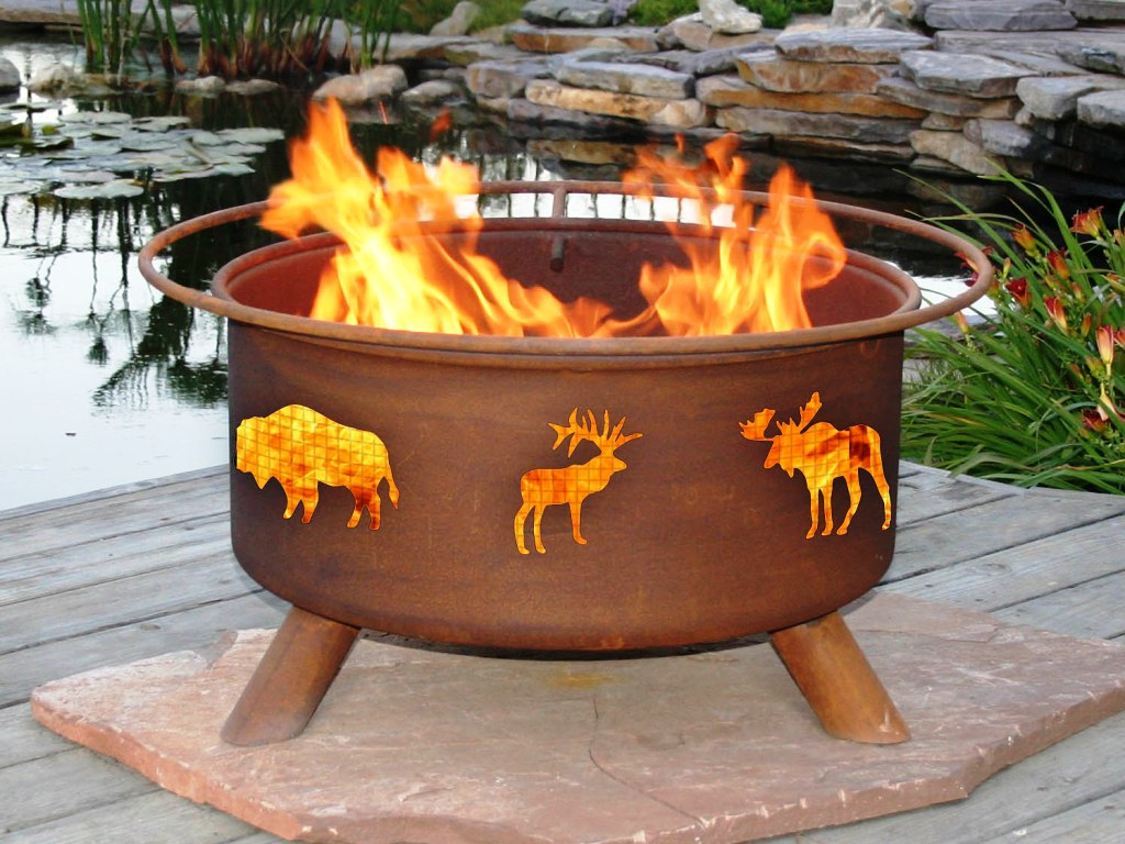 Appealing Metal Fire Pit Idea with Unique Animal Patterns Added on Wooden Deck
