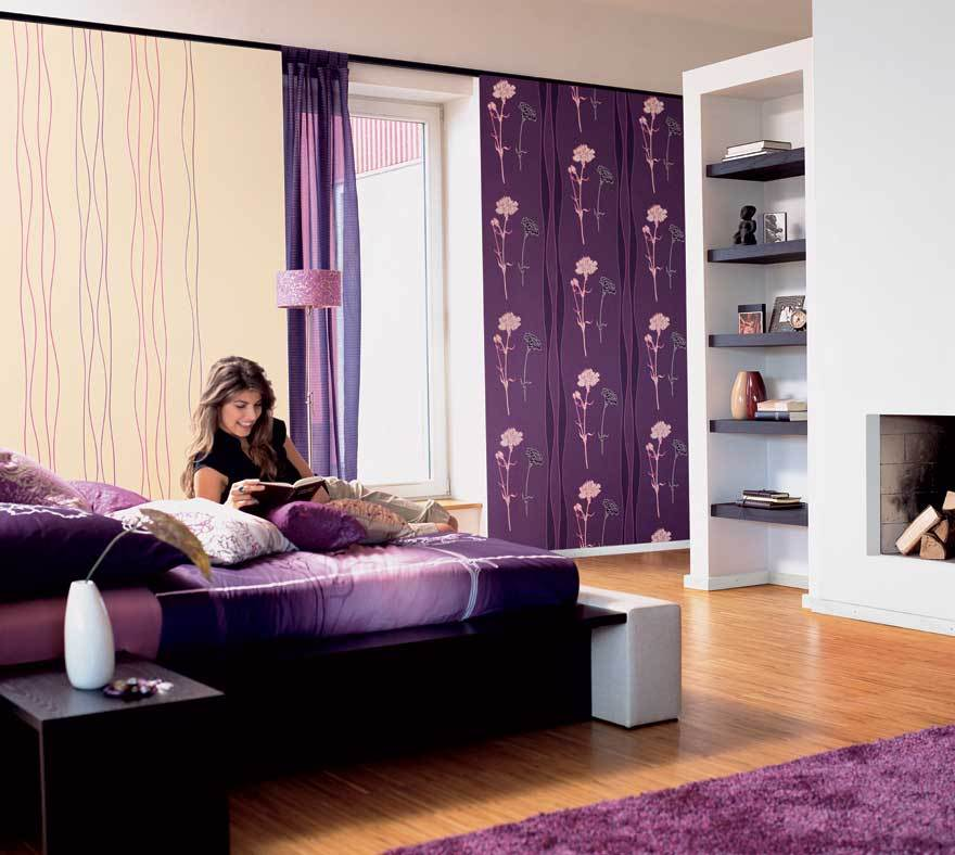 appealing purple touches for wall mural and fur rug to meet white painting of teen girl - Teenage Girl Room Ideas Designs