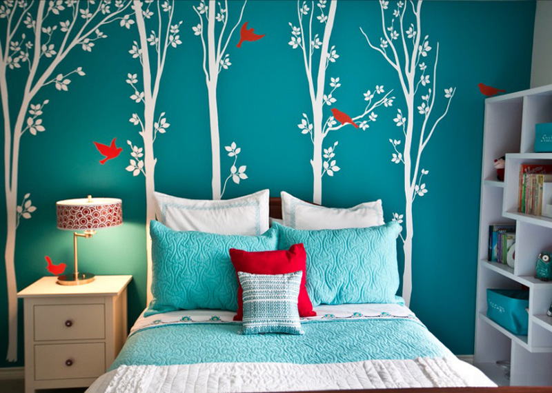Appealing Wall Decal in Blue and White Balanced with White Bedroom Furniture