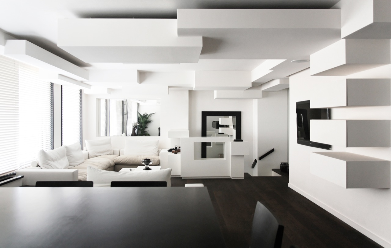 Appealing Wall and Ceiling Designs Completing Home Interior Decoratin in Black and White