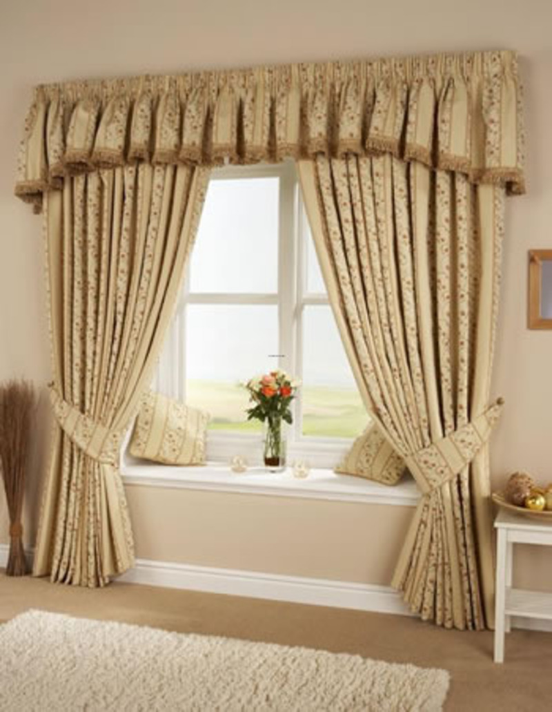 Appealing White Framed Windows and Cozy Bay Seat Window behind Traditional Thick Living Room Curtains