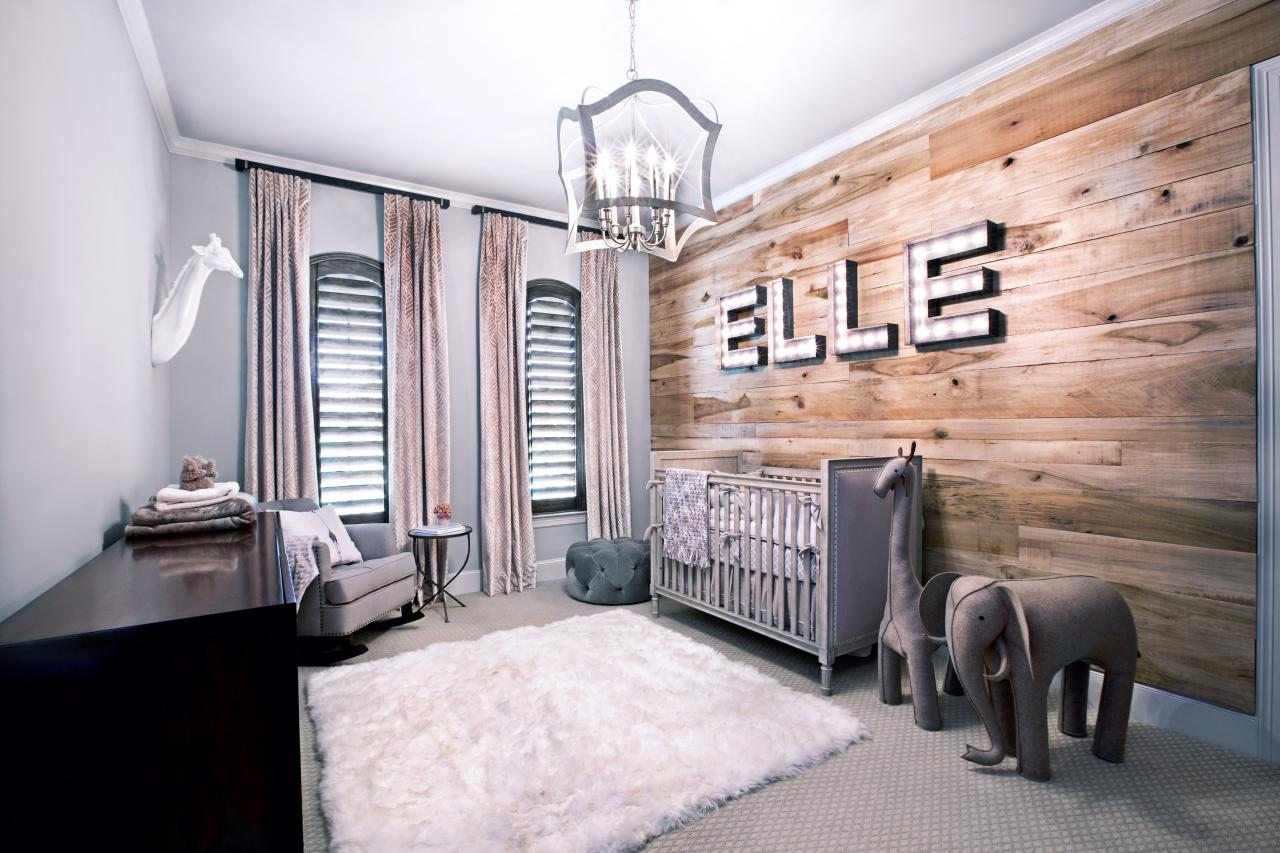 Appealing Wooden Wall Showing Rustic Interior For Baby Boy Room To Meet Grey Painting And Furniture