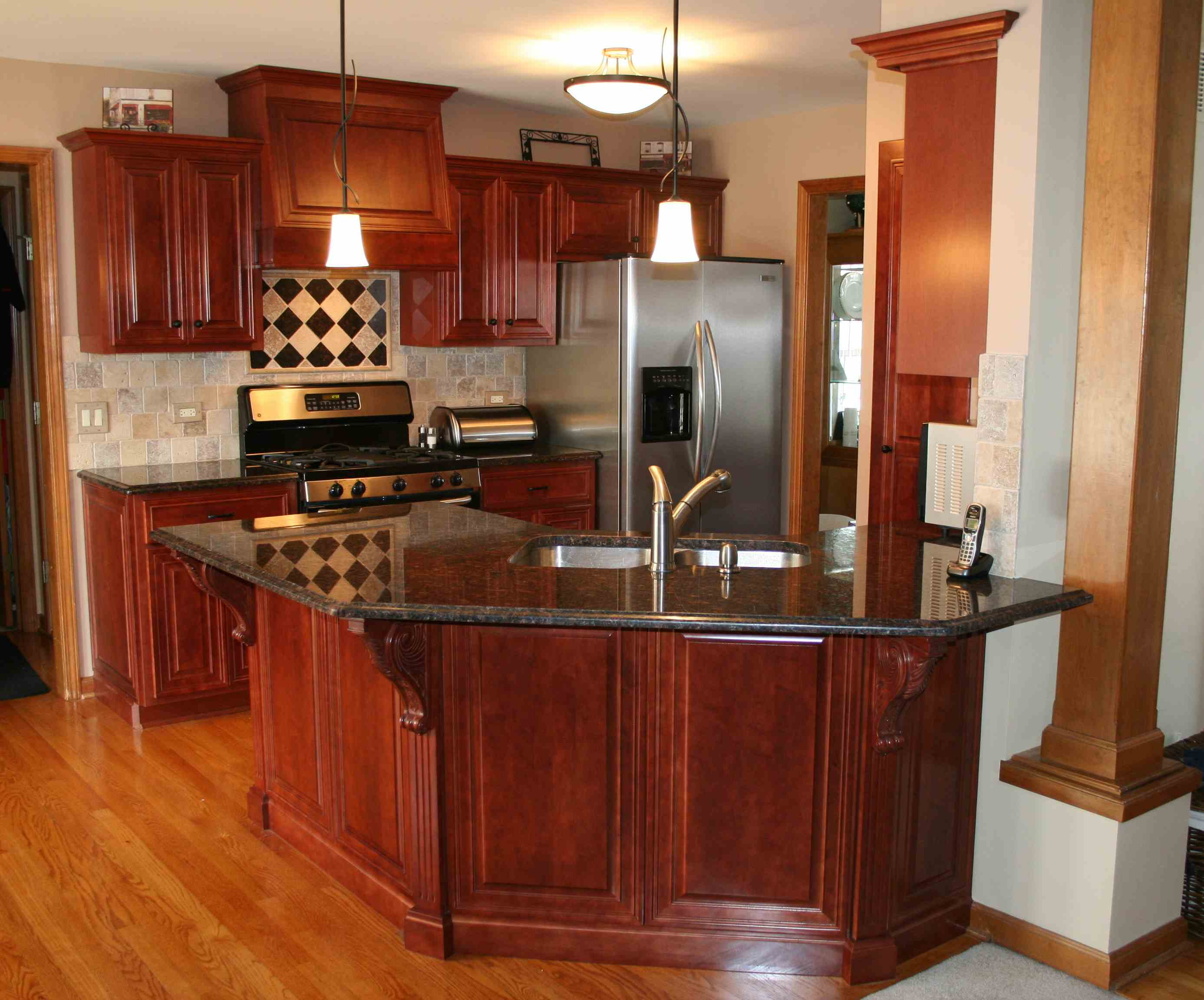 based kitchen floor plan with folded island and refinished cabinets refacing