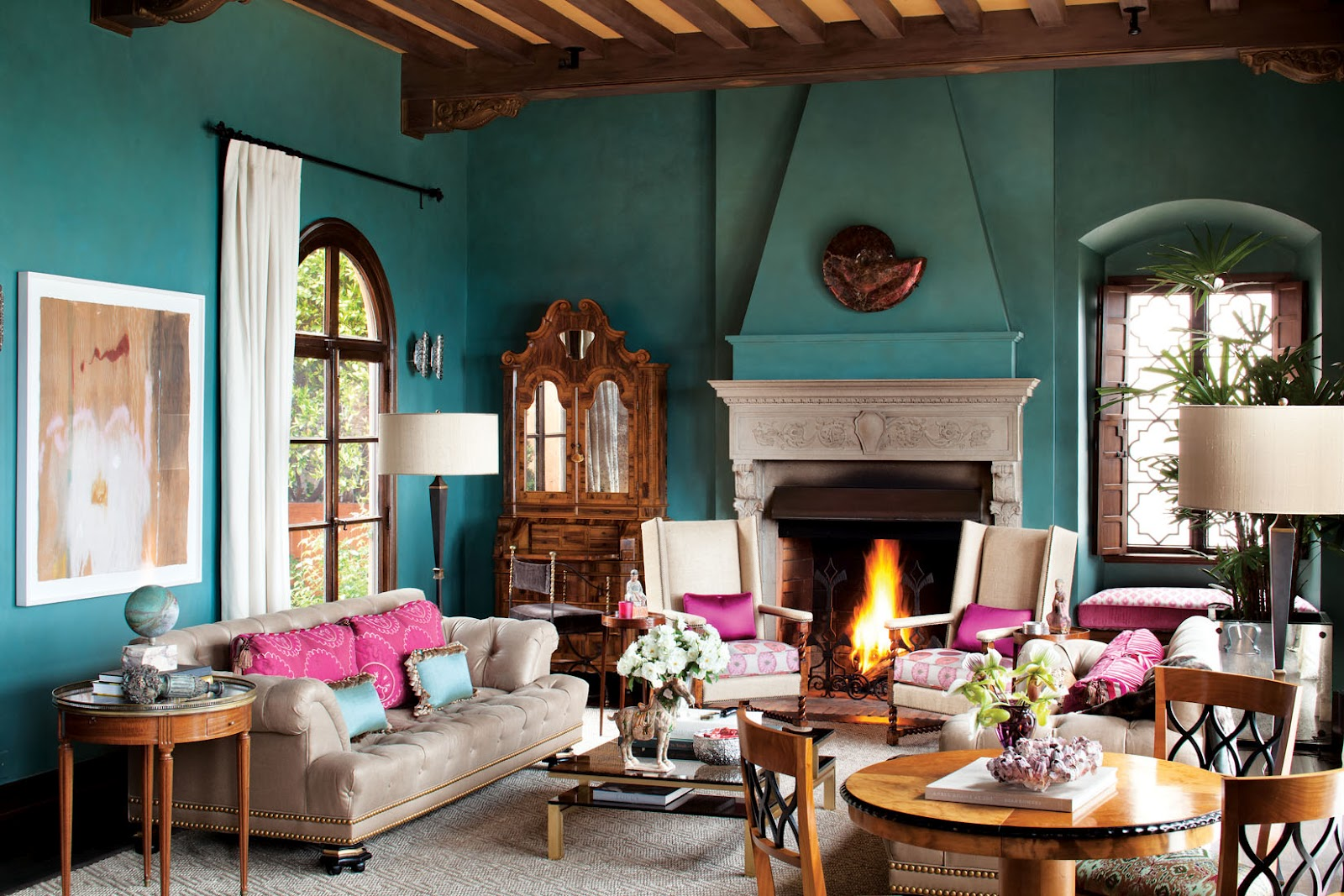 blue and pink living room ideas - midcityeast