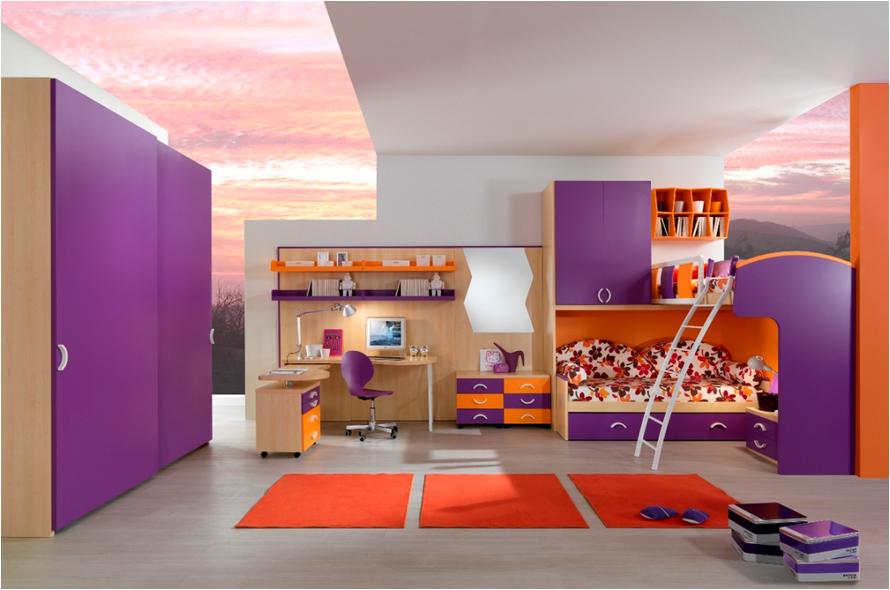Awesome Bedroom with Purple Bunk Beds for Girls and Wooden Computer Desk near Purple Swivel Chair