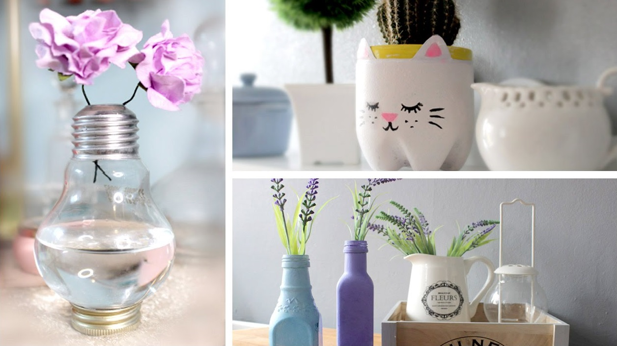 Some tips for your diy room decor items midcityeast awesome diy room decoration made of used light bulb and bottles for flower vases reviewsmspy