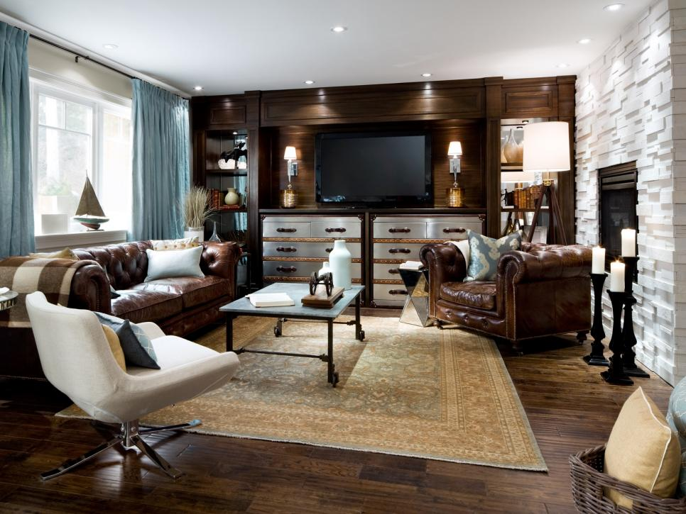 Awesome Tufted Leather Sofas and Unique Table for Stunning Living Room Decor with Hardwood Flooring