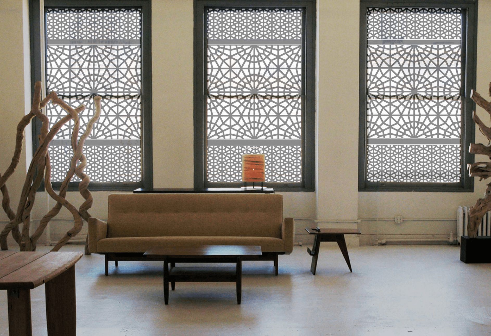Awesome Window Treatment Idea with Retro Style Patterned Drapery to Improve Interior Decoration