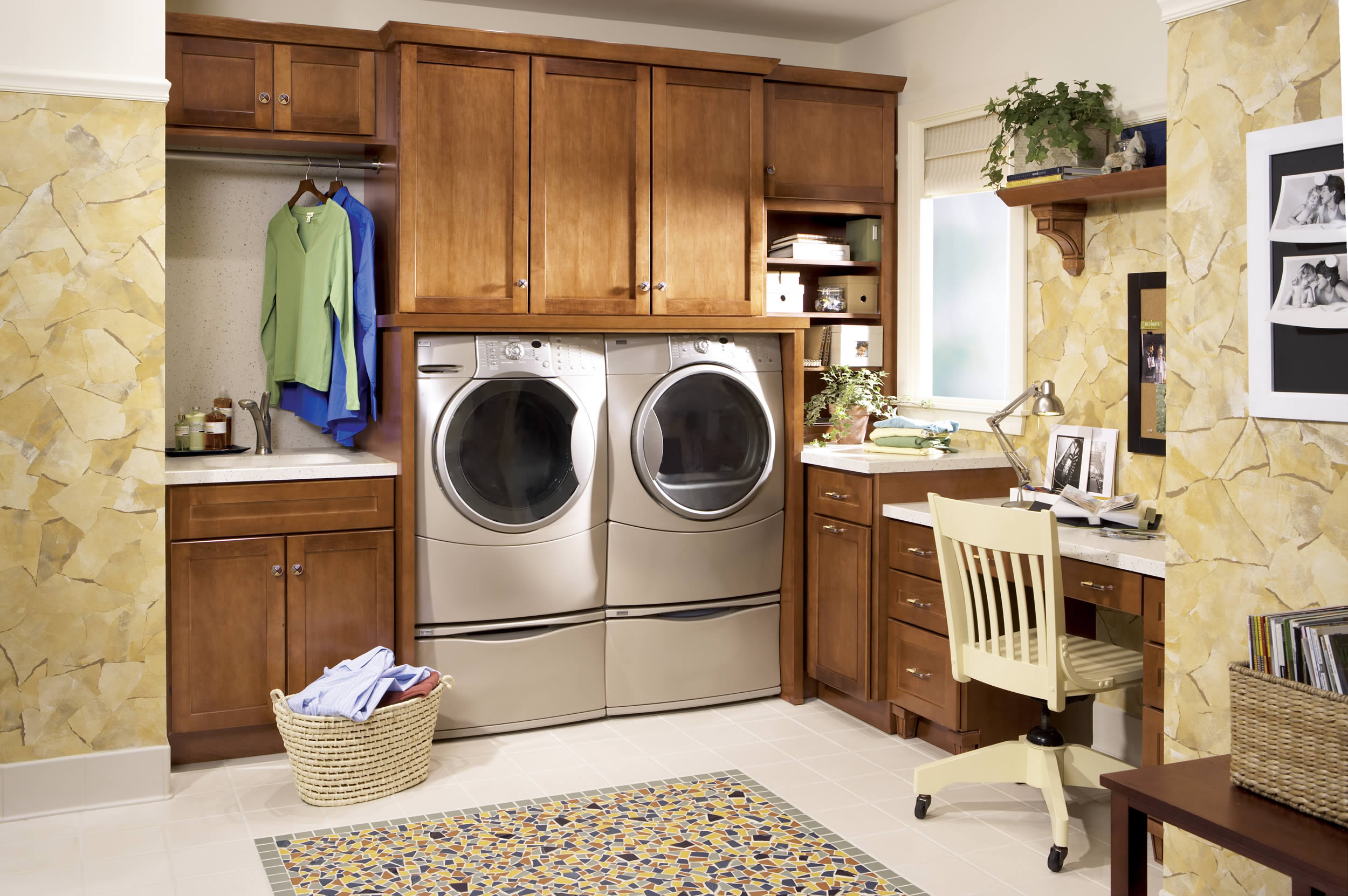 Awesome Wooden Laundry Room Cabinets And Glossy Grey Washing Machines  Facing Oak Desk