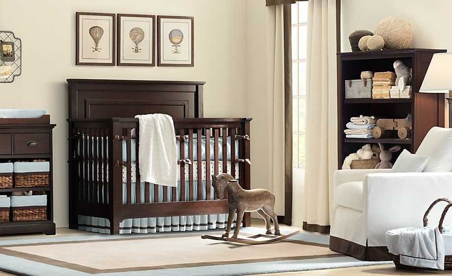 Baby Boy Nursery Idea With Horse Rocking Chair And Toys Displayed On Open  Shelf