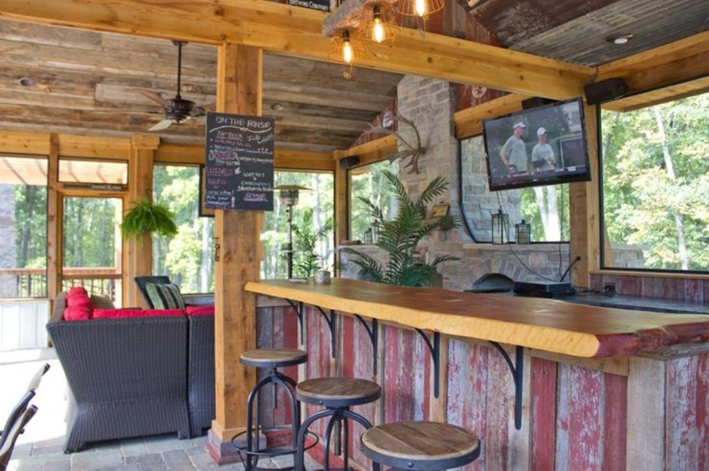 Bar Style Outdoor Kitchen Ideas with Direct Access to Outdoor Gathering Spot