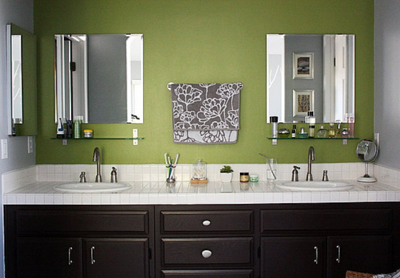 Assorted bathroom color ideas for any bathroom midcityeast for Green and gray bathroom designs