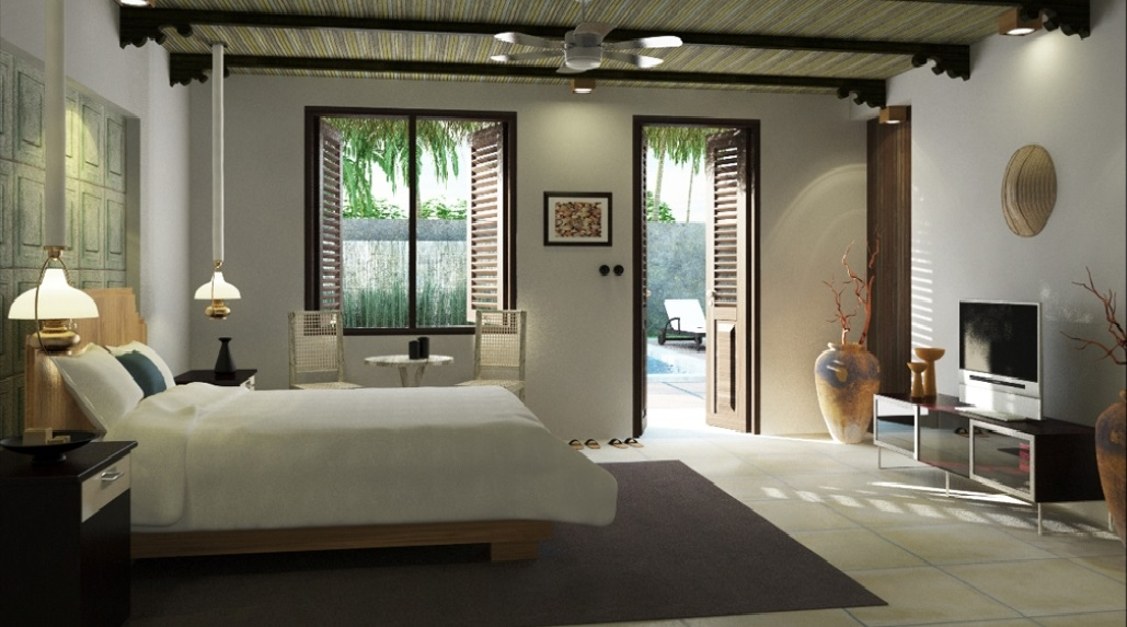 Beach Style Master Bedroom Directly Connected to Patio with Swimming Pool
