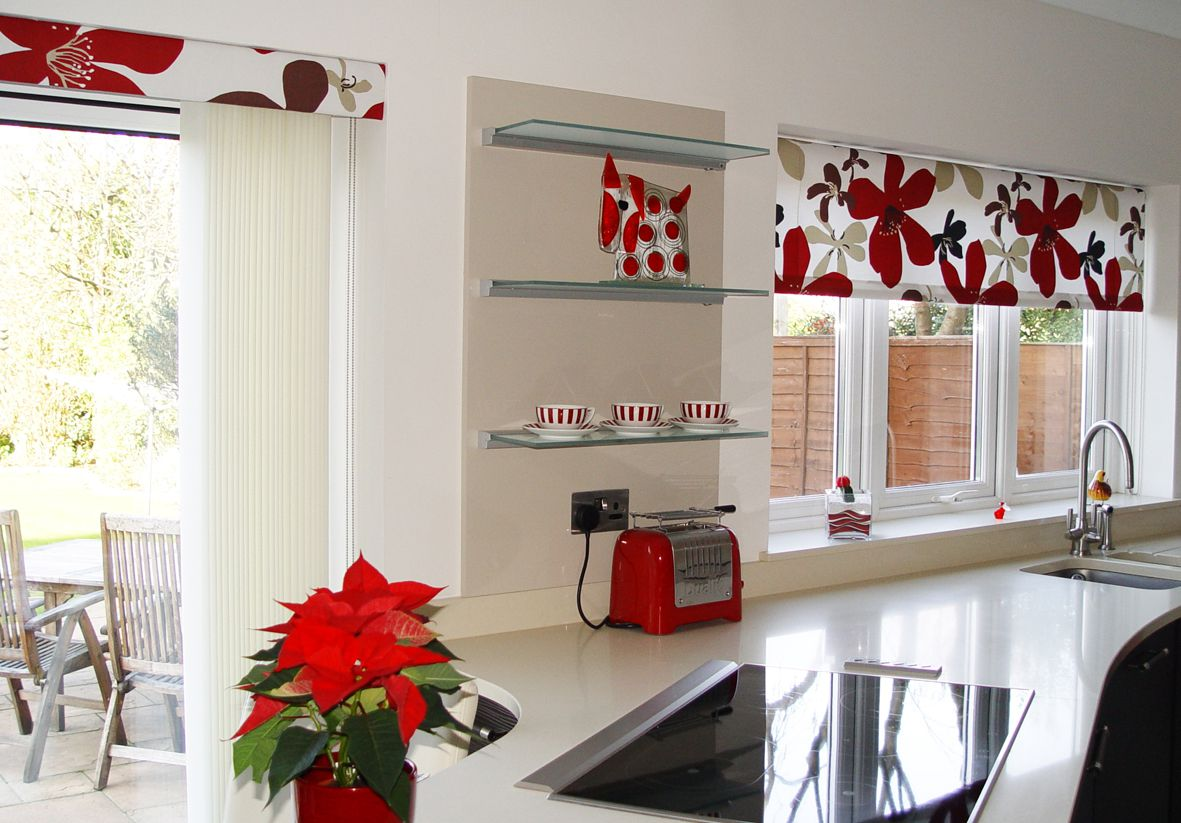 Beautiful Floral Blinds to Cover Three Kitchen Windows Showing Red Accents