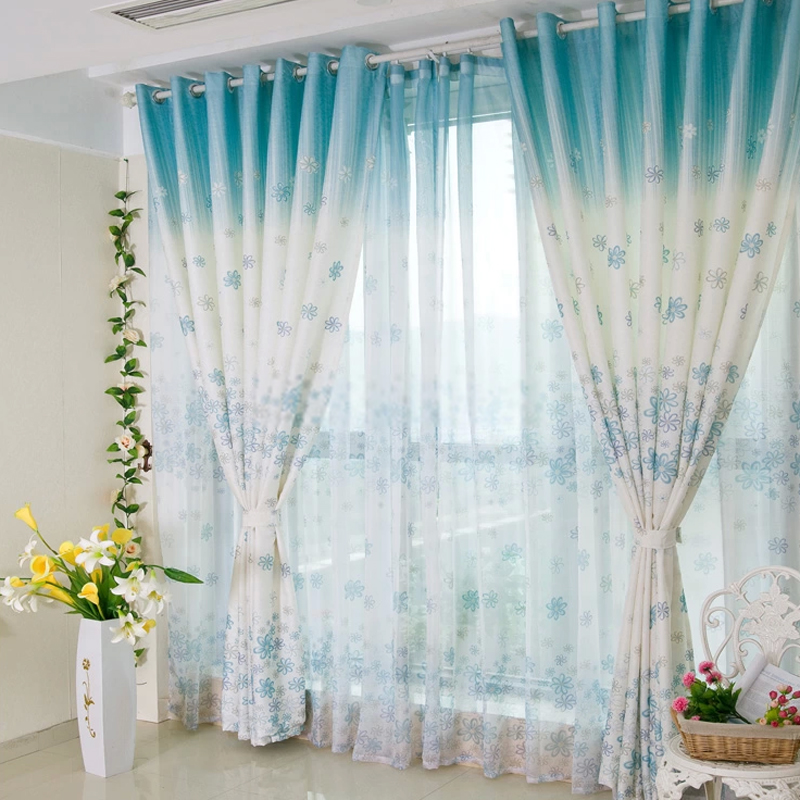 Beautiful Flowers and Blue Flowered Living Room Curtains Completing Enchanting Room with Tile Flooring