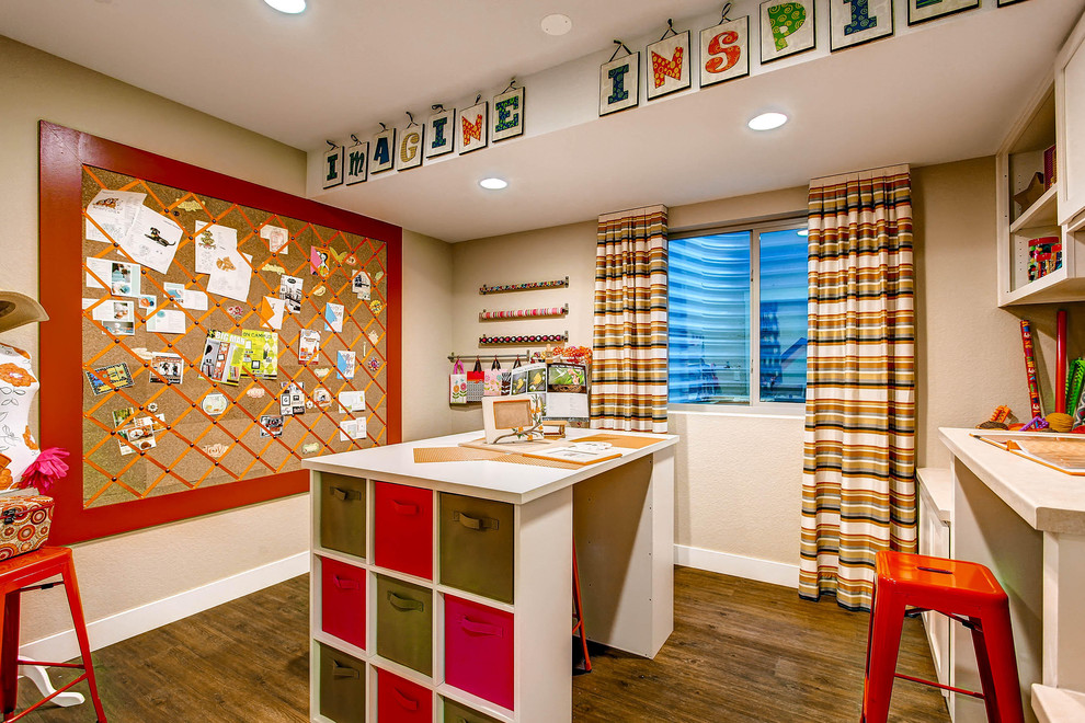 Beautiful Red and Green Touches for Craft Room Interior with Sliding Window