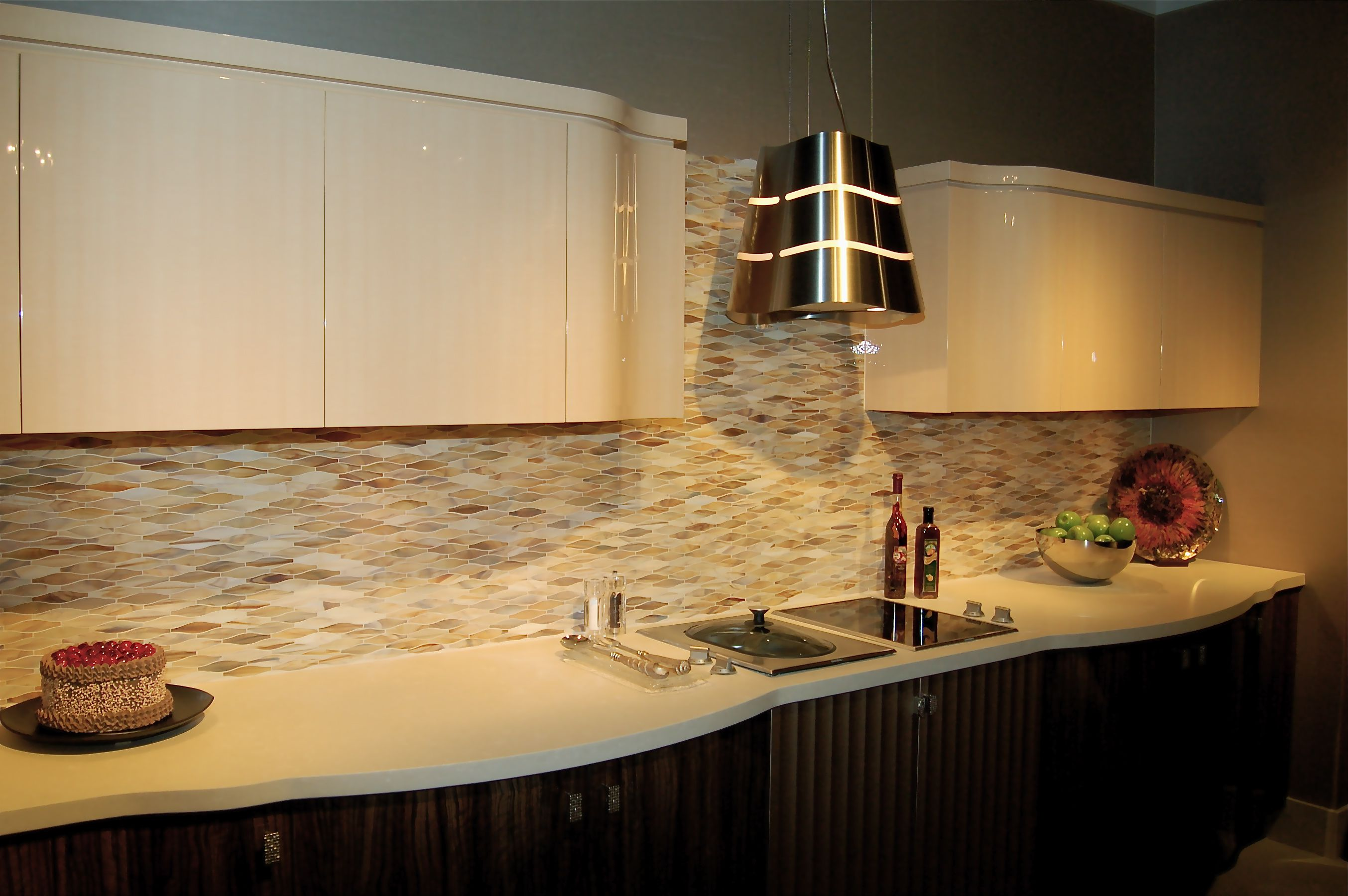 Best Kitchen Backsplash Ideas With Stunning Colors And Pattern To Meet  Glossy White Upper Cabinet