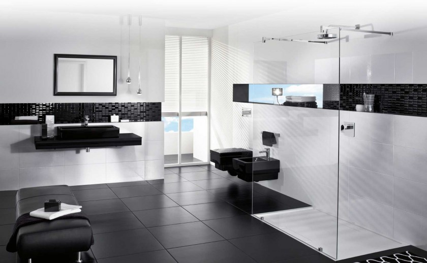 Black Bathroom Flooring and Decorative Wall Trims Combined with White Wall Painting