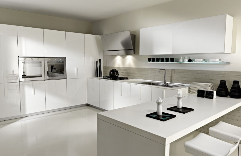 Delicieux Black Ornaments Decorating White Kitchen With Long Modern Kitchen Cabinets  And Stools On Tile Flooring