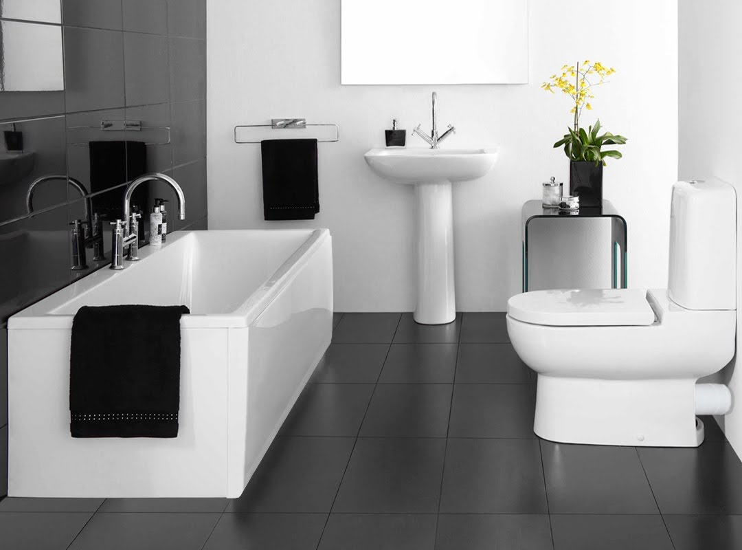 Delicieux Black Wall And Floor Combined With White Bathroom Furniture Presenting Nice  Color Scheme