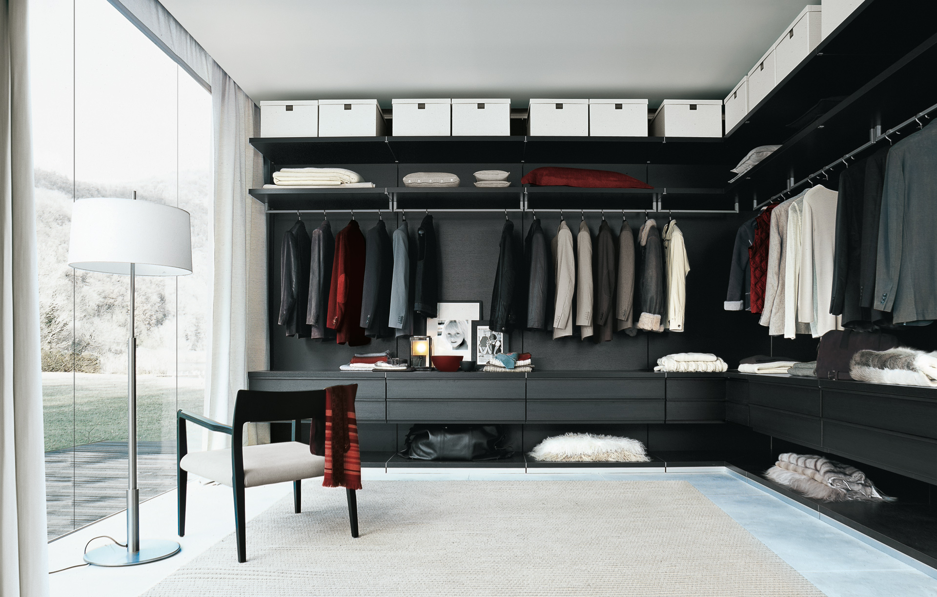 Black And White Walk In Closet Interior Ideas With Black Furniture And  White Painting