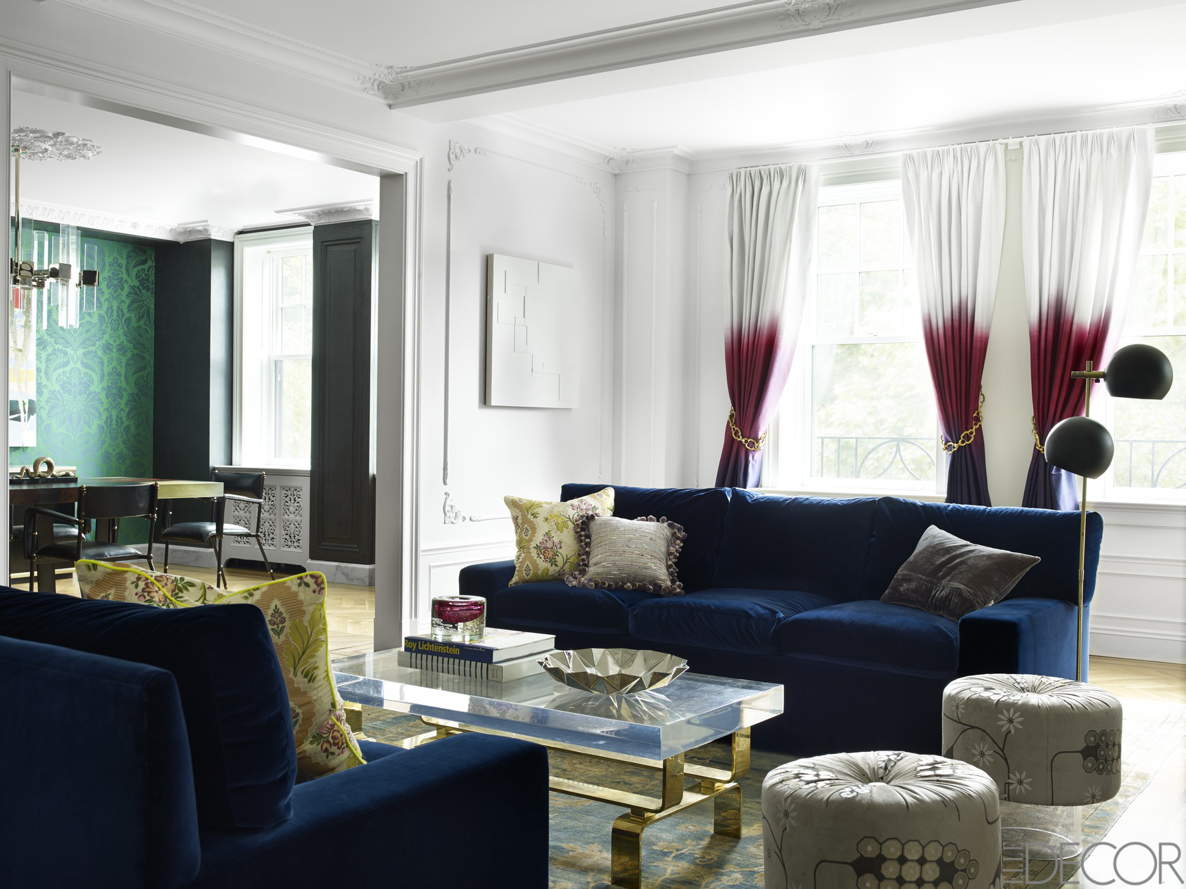 Blue Sofas And Glass Top Coffee Table Inside Fancy Room With Sensational Living  Room Curtains