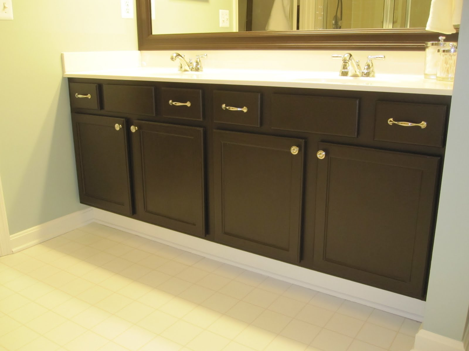 Bold Black Painting also Applied for Bathroom Vanity Painting with White Countertop and Double Sinks