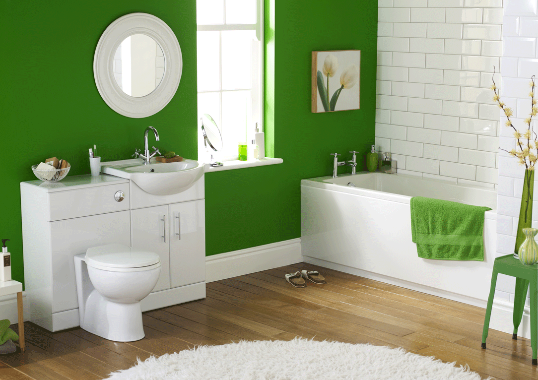 Bold Green Wall Painting of Modern Bathroom to Work with White Furniture and Subway Tile