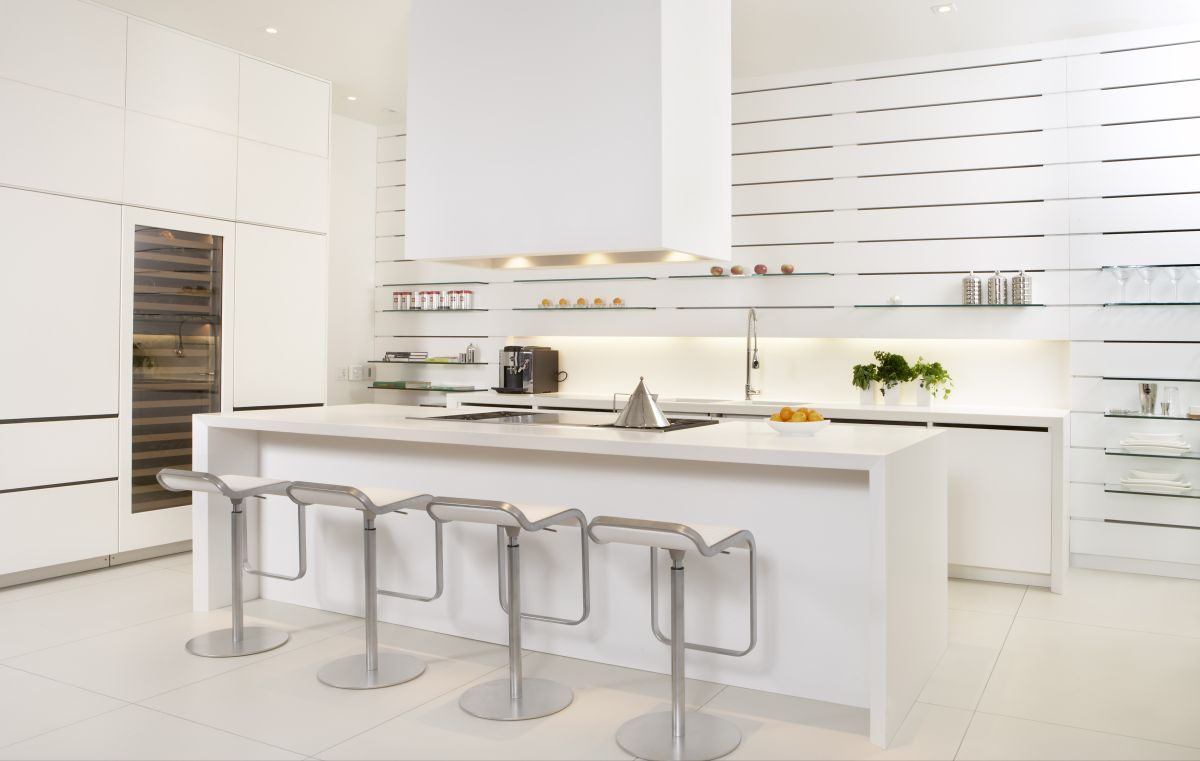 Bright Contemporary White Kitchen Interior with All in White and Glass Touches