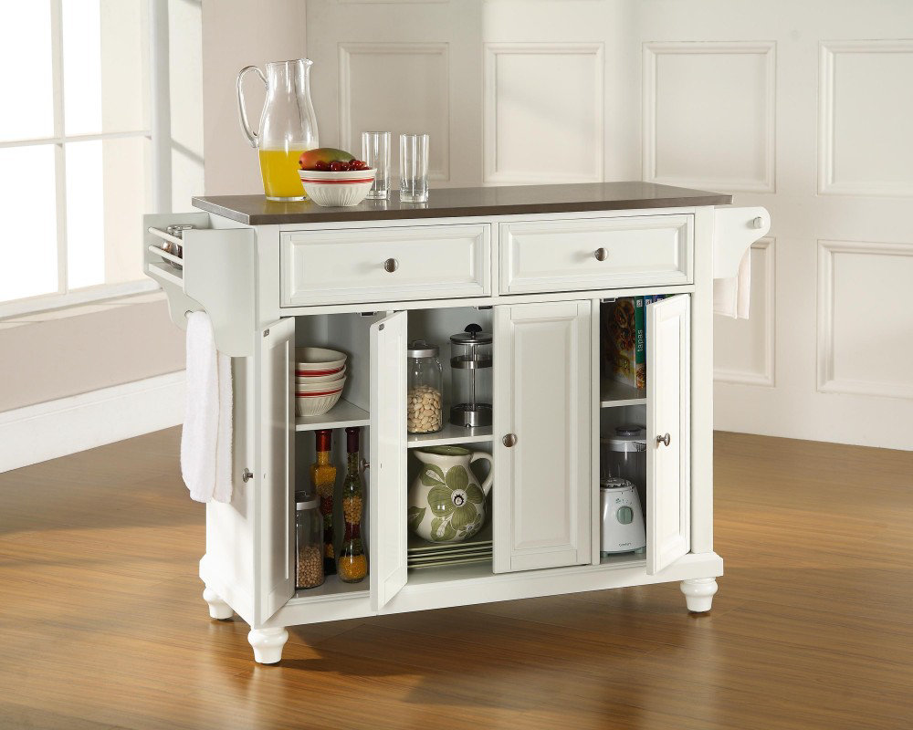 Brilliant Portable Kitchen Island Design with Towel Handle and White Cabinets under Grey Top