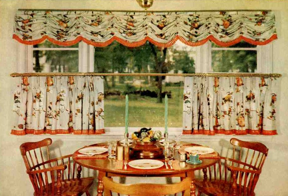 Cafe Style Kitchen Curtain Ideas that Don't Completely Cover the Room with Unique Print