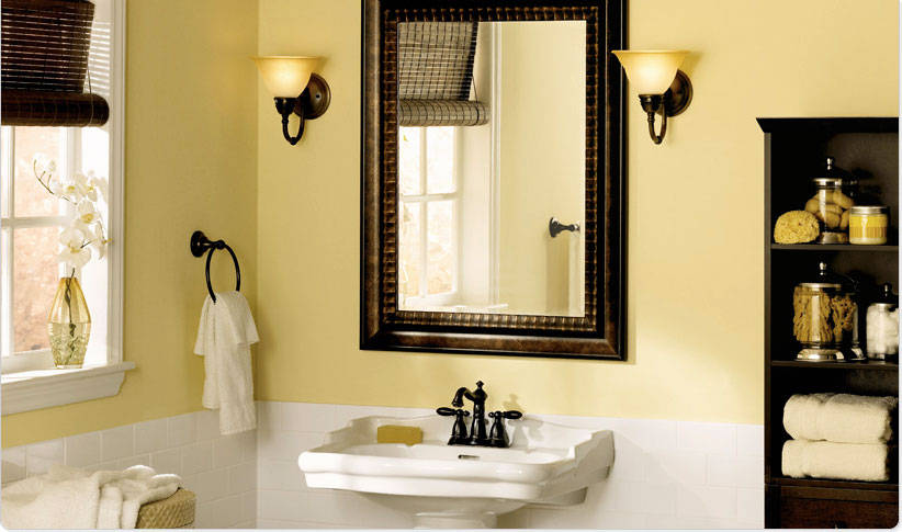 Calm Bathroom Color Ideas with Cream Painting and White Subway Tile with Wood Accents