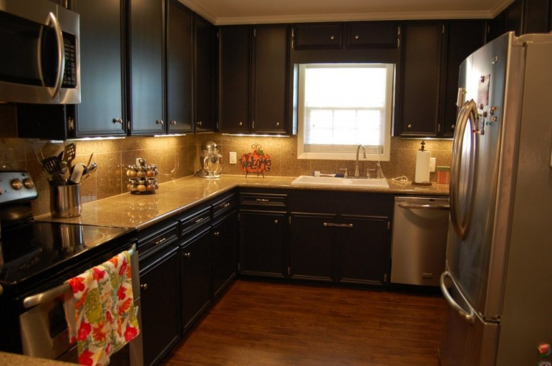 Calm Kitchen Interior with Black Refinished Cabinets and White Countertop Decorated with Lighting