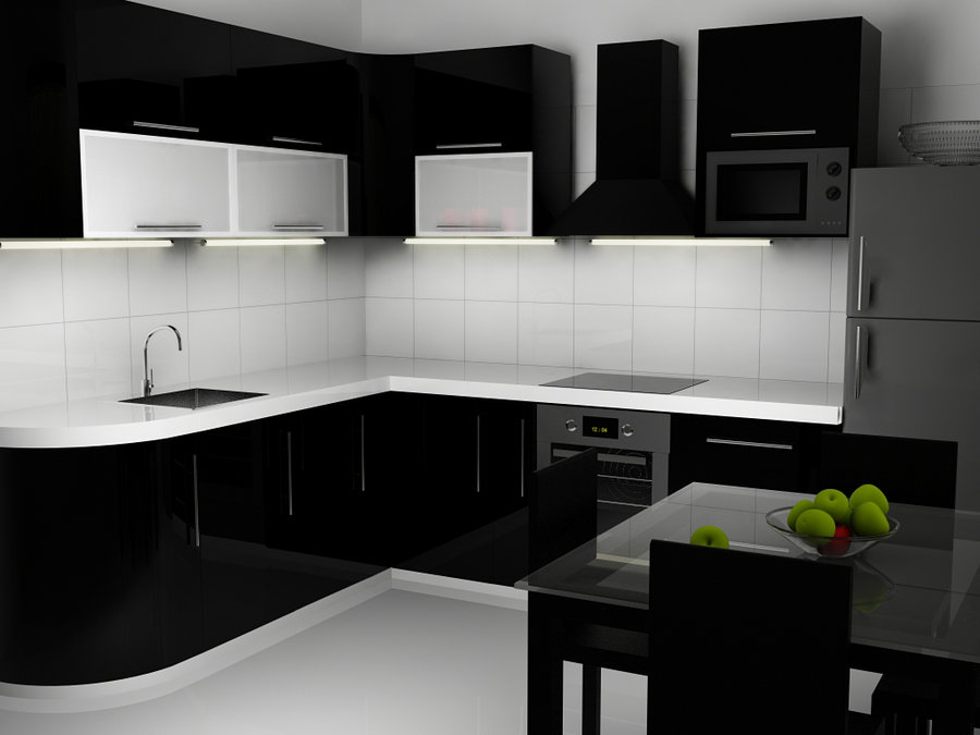 Captivating Black and White Kitchen Interior with Black Cabinets and White Top and Backsplash