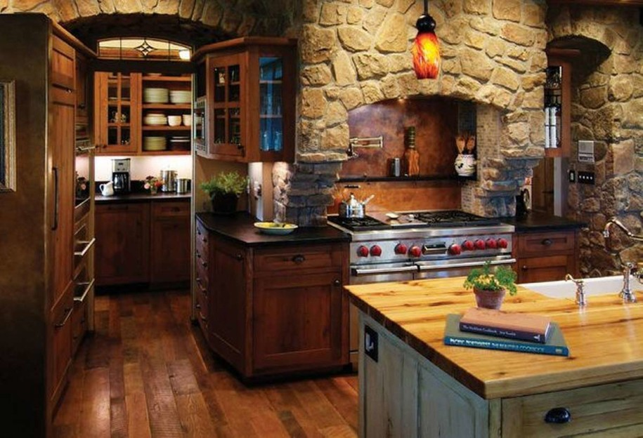 Captivating Bold Stone Wall to Meet Rustic Wood Kitchen Cabinets and Island