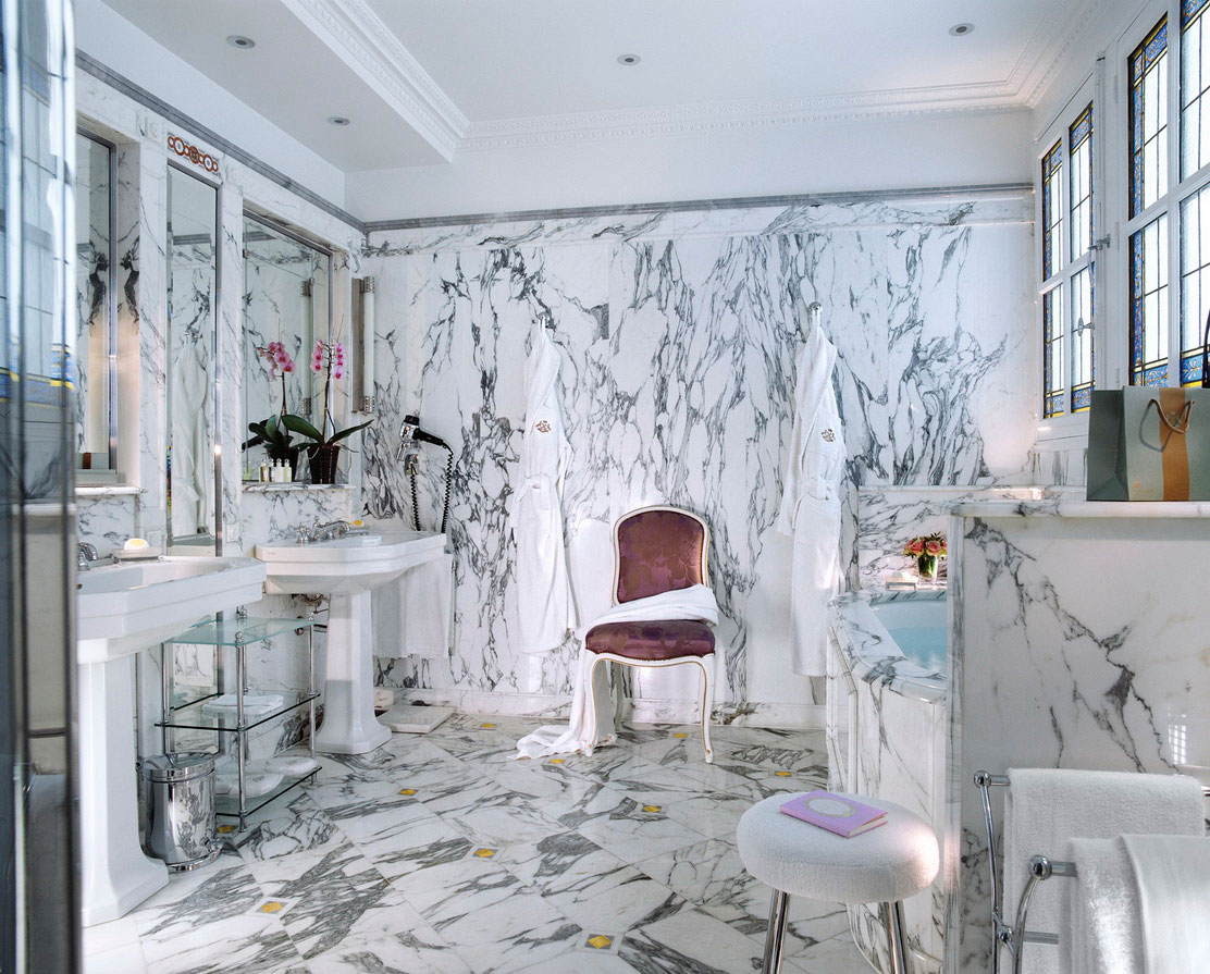 Captivating Pattern Shown In White Bathroom With Double Vanities And Mirrors
