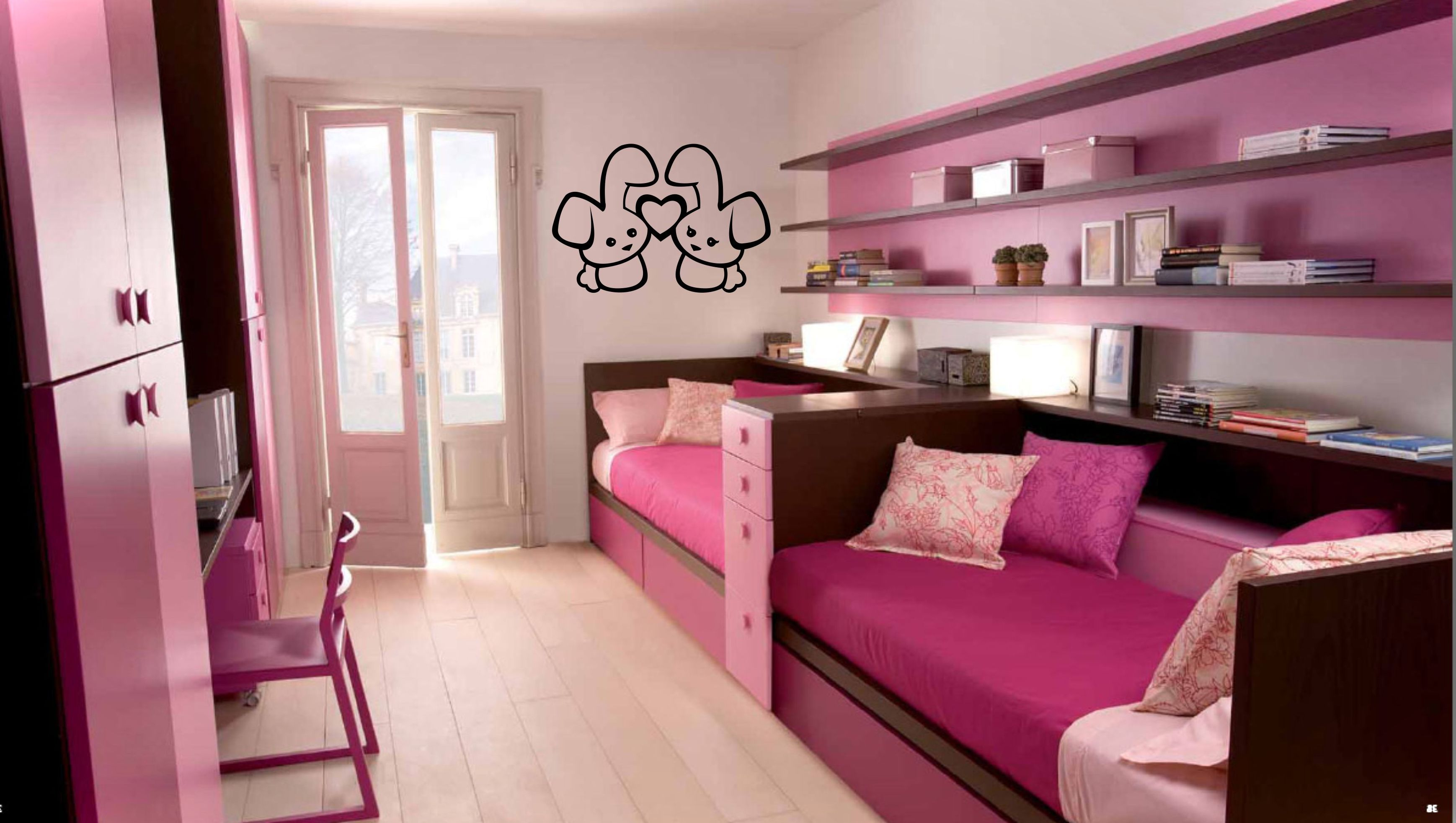 Charming Bedroom Interior For Girls With Bold Pink Accent For Furnishing  And Background Painting