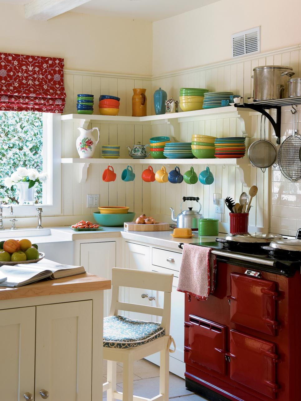 Chic Small Kitchen Ideas Witch Colorful Dishware And Simple Shelves