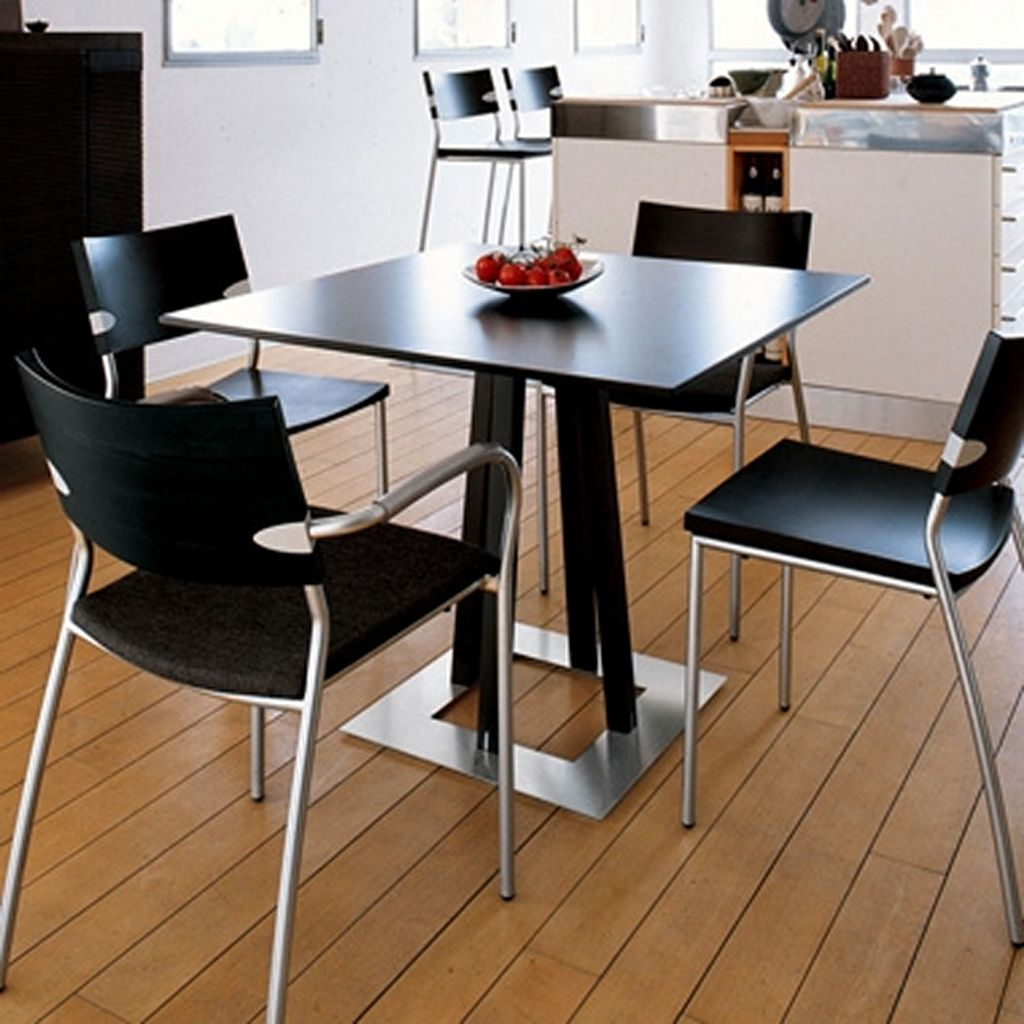 Choose Dark Small Kitchen Table and Modern Chair near Awesome Kitchen Island on Hardwood Flooring