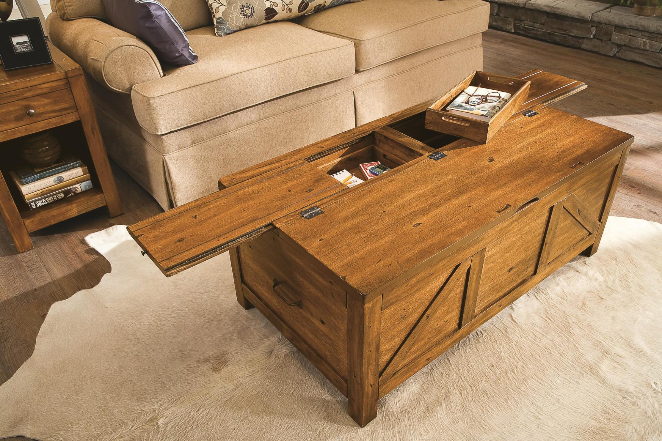 Choose Rustic Design from Wooden Coffee Table with Storage for Old Fashioned Living Room