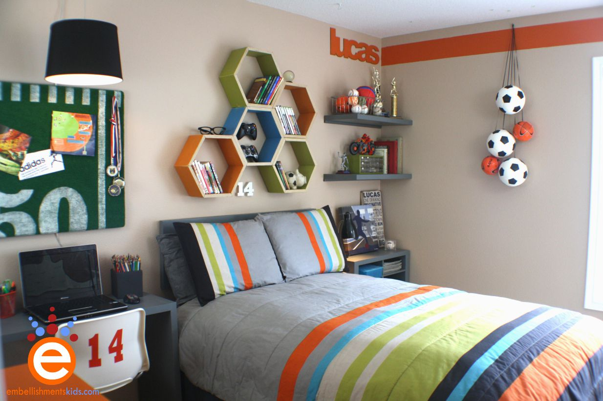 Choose Sport Themed Boys Bedroom Ideas With Grey Bed And Study Desk Under  Floating Hexagon Bookshelves