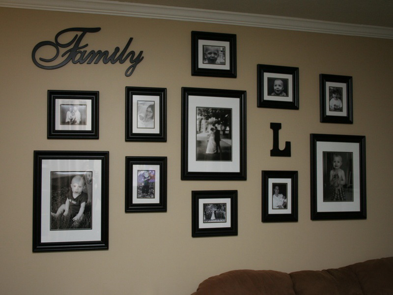 Choose Wall Decor Ideas With Family Framed Photos Inside Comfy Family Room  With Brown Sofa