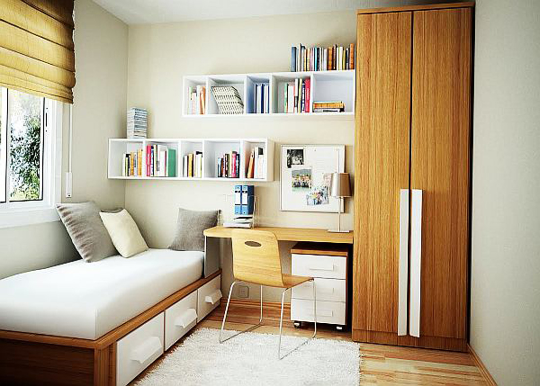 Choose White Floating Bookshelves and Wooden Desk in Small Room Ideas with High Wardrobe Cabinet