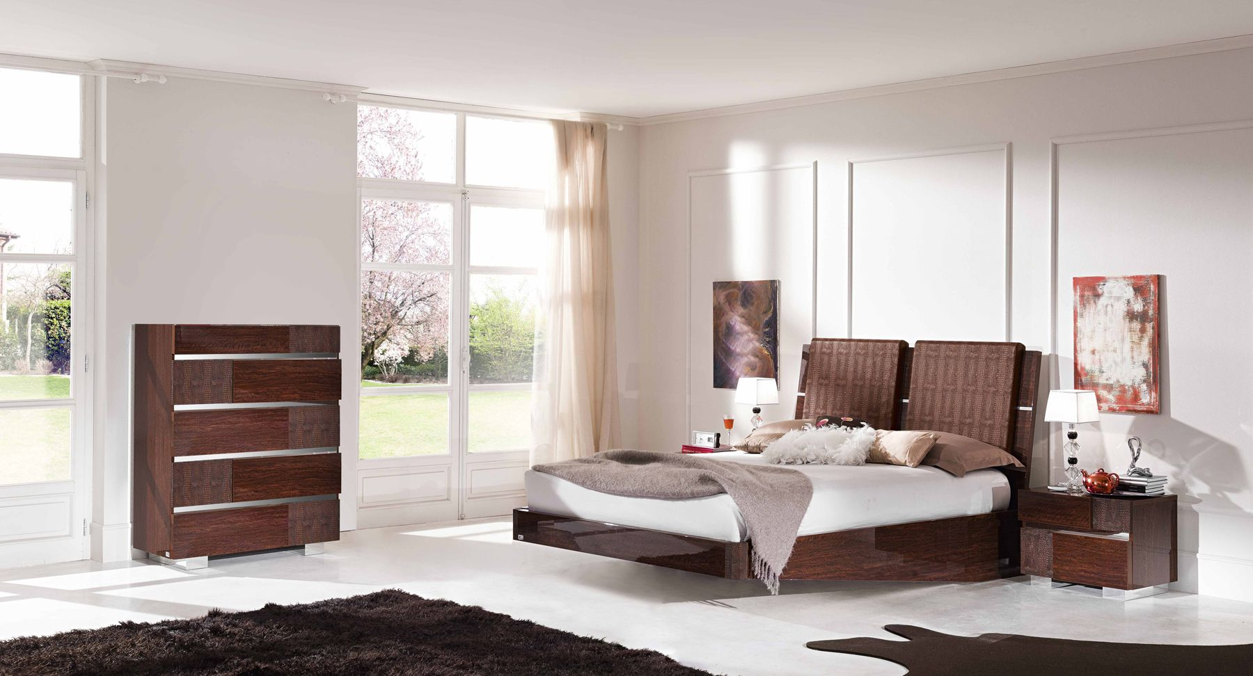 Genial Choose Wicker Headboard And Floating Bed Near Glossy Brown Dressers As Modern  Bedroom Furniture