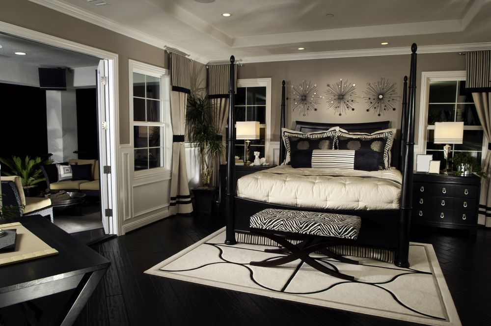 Classic Bedroom with Canopy and Patterned Bench to Complete Grey Master Bedroom