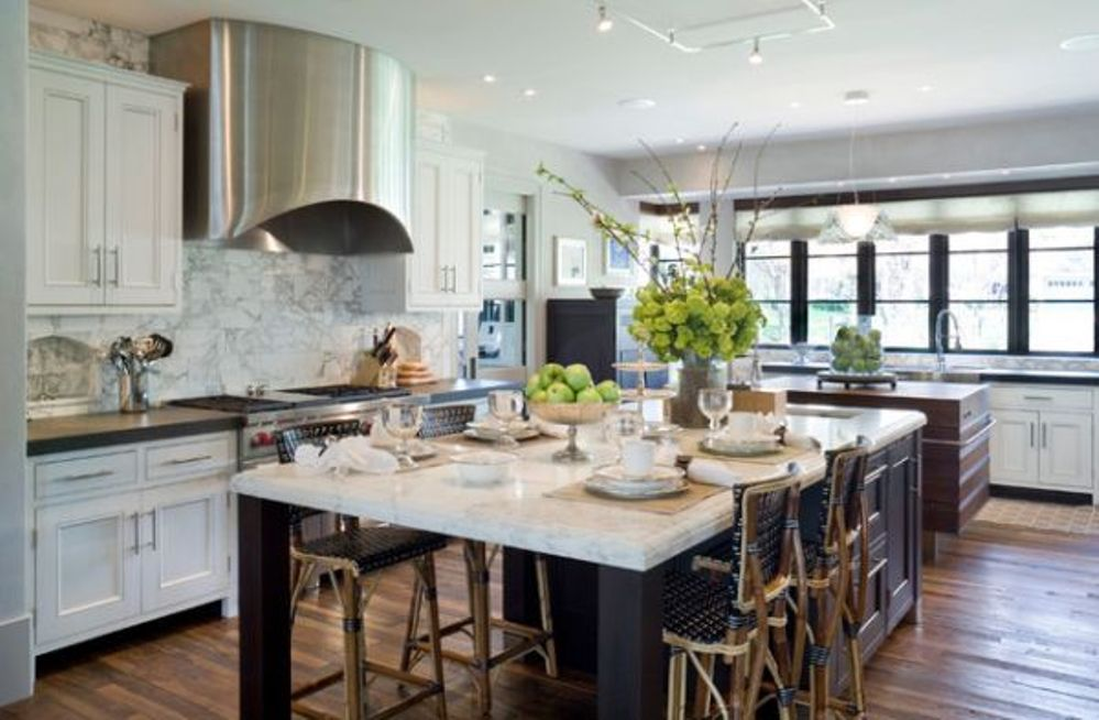 Classic Kitchen Island Table and Old Fashioned Stools Placed inside Wide Kitchen with Marble Backsplash