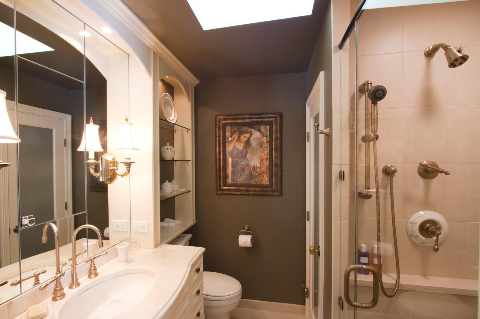 Classic Small Bathroom Remodel With Curvy White Vanity And Luxury Glass  Shelves