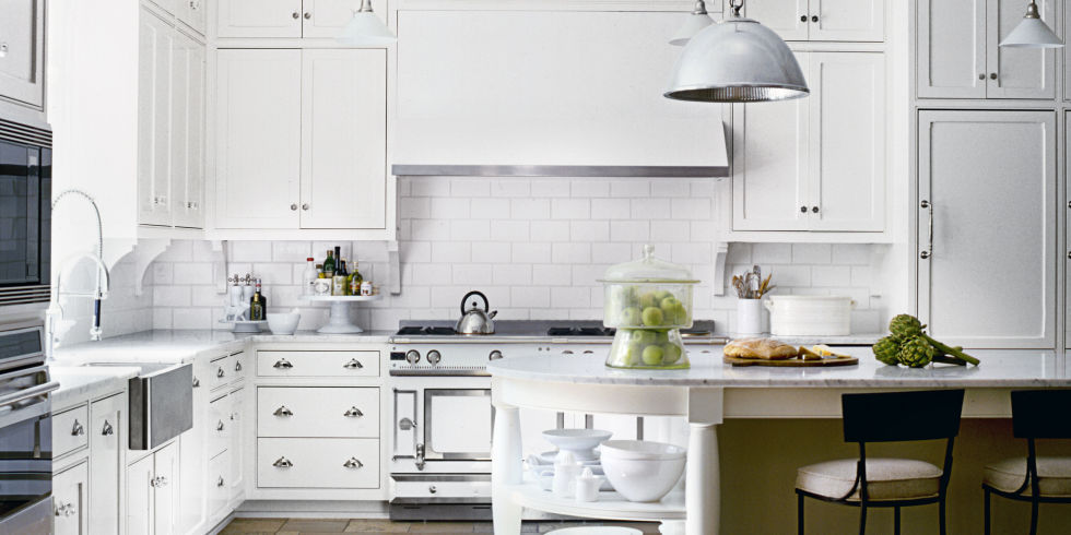 Classic White Kitchen Interior Idea with White Furniture and Marble Countertop