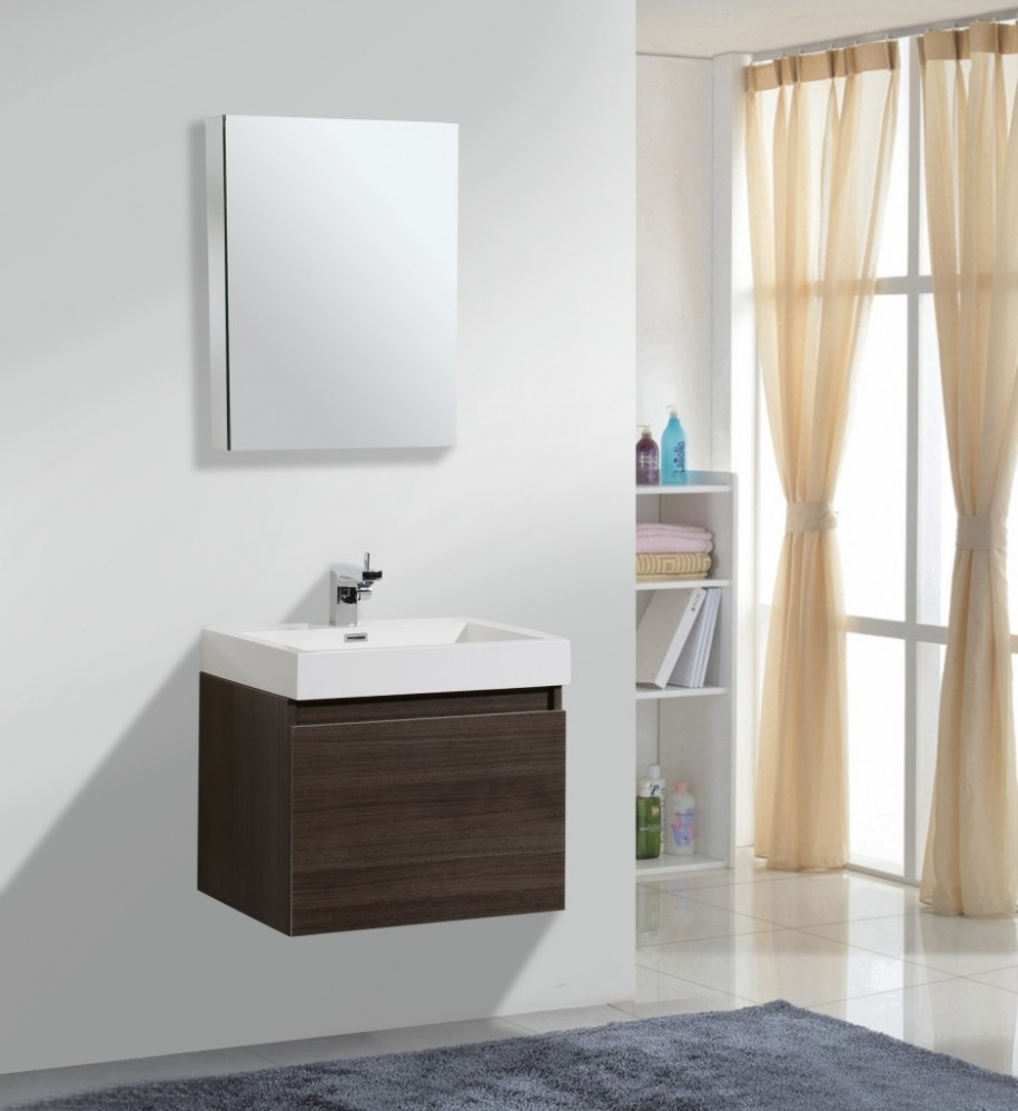 Clean White Shelves And Wooden Small Bathroom Vanities Near Grey Carpet On White Tile Flooring