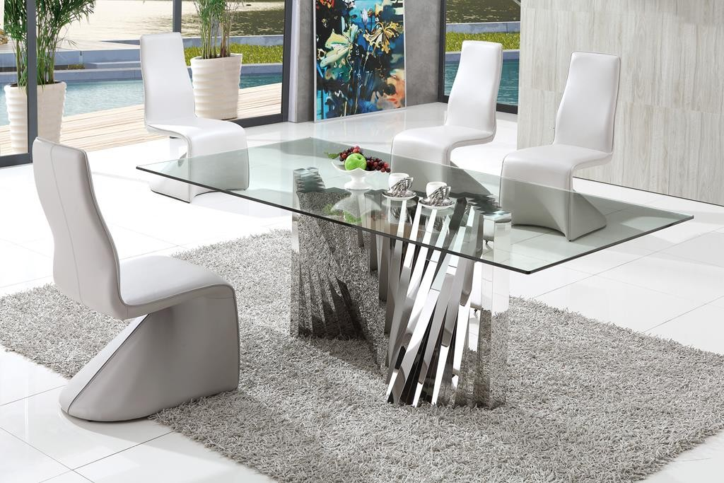 Entertain Your Guests with Perfect Dining Table MidCityEast : Clear Glass Top Modern Dining Table and Stylish White Chairs on Grey Carpet Flooring from midcityeast.com size 1024 x 683 jpeg 199kB